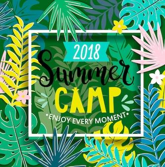 Acampamento de verão 2018 com letras handdrawn