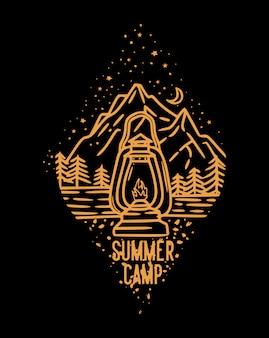 Acampamento de verão à noite nas montanhas com ilustração vintage de lanternas acesas clássicas