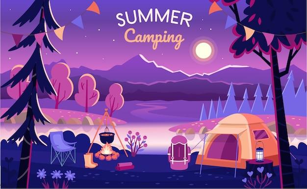 Acampamento de verão à noite.