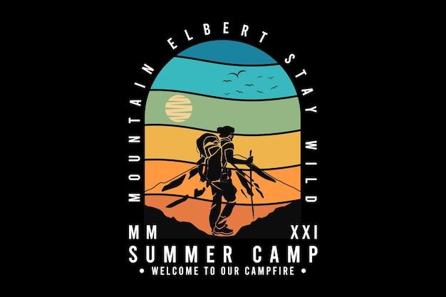 .acampamento de verão, bem-vindos à nossa fogueira, design de silte estilo retro