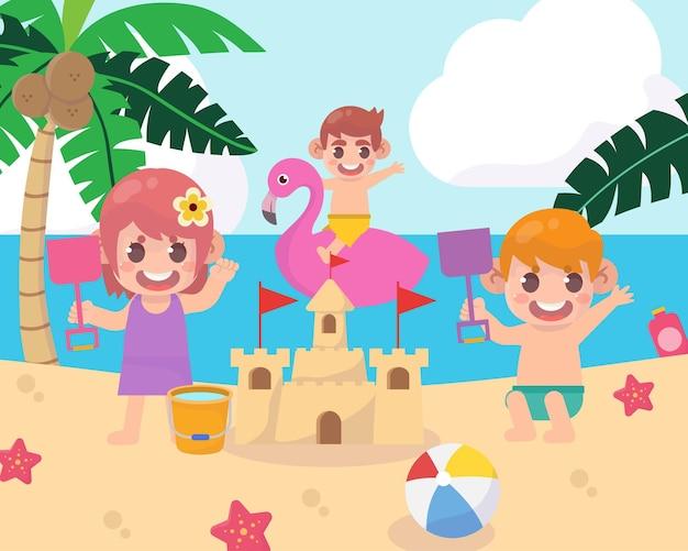 Acampamento de verão com crianças na praia