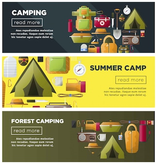 Acampamento de verão e banners de acampamento na floresta