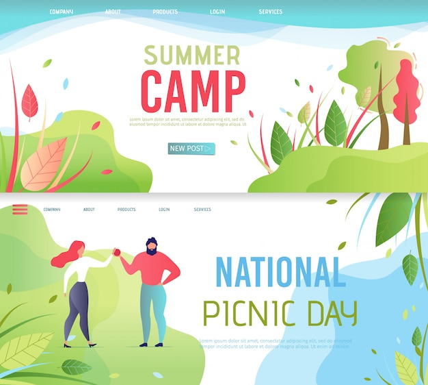 Acampamento de verão e dia nacional do piquenique landing page set