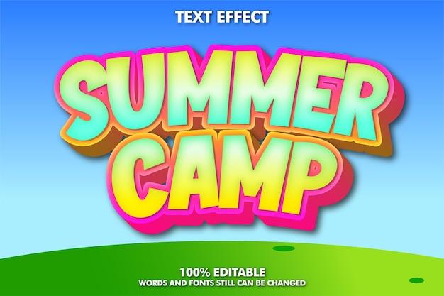 Acampamento de verão, efeito de fonte de desenho animado moderno