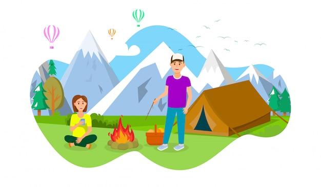 Acampamento de verão na ilustração do vetor das montanhas.