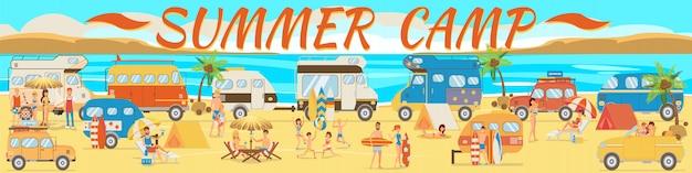 Acampamento de verão na praia