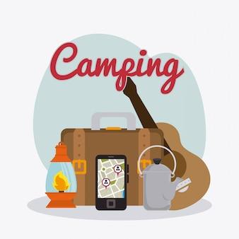 Acampamento de viagem e férias.