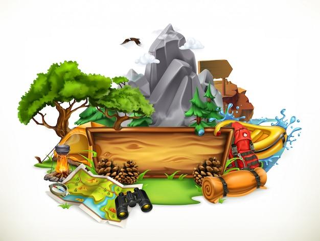 Acampamento e aventura, ilustração 3d
