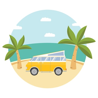 Acampamento em praia tropical com van