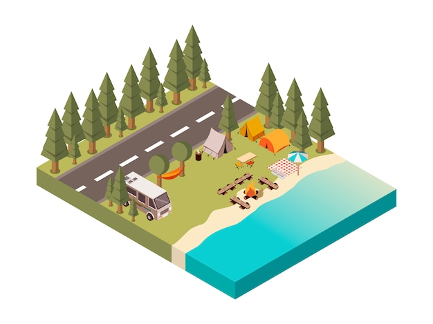 Acampamento entre estrada e lago ilustração