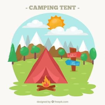 Acampamento ilustração tenda