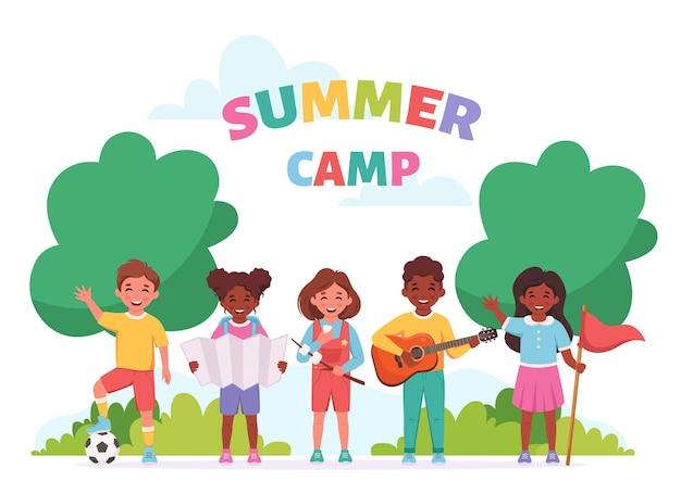 Acampamento infantil de verão conceito de acampamento infantil de atividades ao ar livre