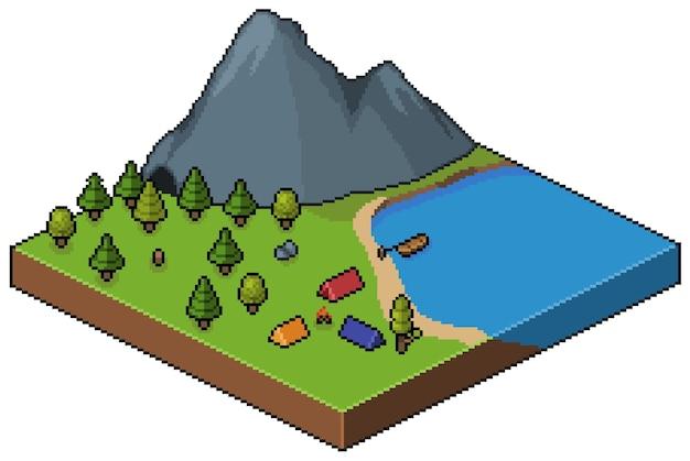 Acampamento isométrico de pixel art na floresta com cenário de motanha e lago bit