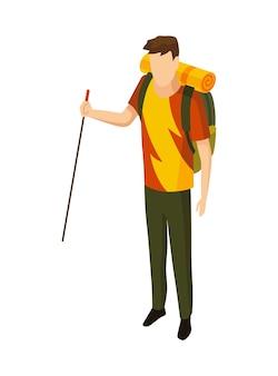 Acampamento isométrico. símbolo colorido de caminhadas. ícone com atributos de ferramenta ou elemento de equipamento de acampamento. homem com mochila de montanha isolada Vetor Premium