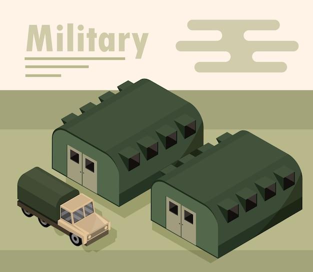 Acampamento militar com ilustração de quartéis e transporte de caminhão