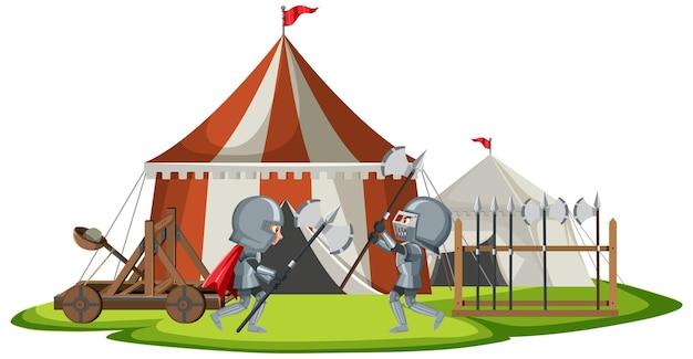 Acampamento militar medieval com dois guerreiros lutando