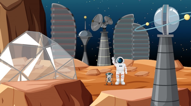 Acampamento na cena do espaço