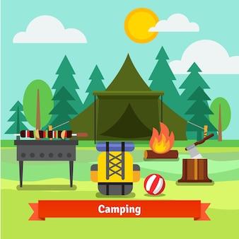 Acampamento na floresta com barraca