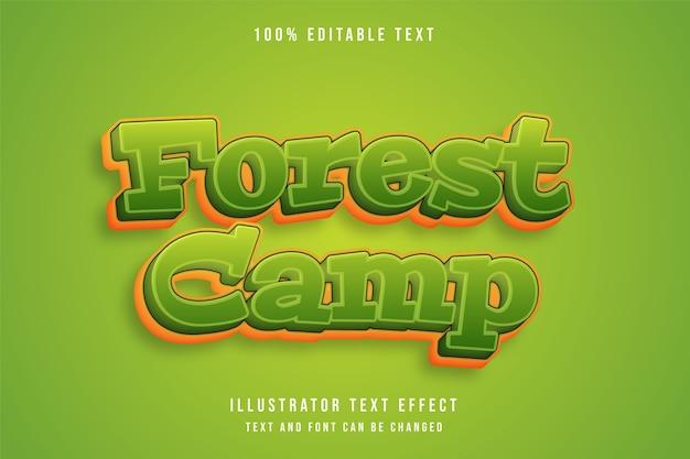 Acampamento na floresta, efeito de texto editável 3d gradação verde estilo efeito cômico amarelo