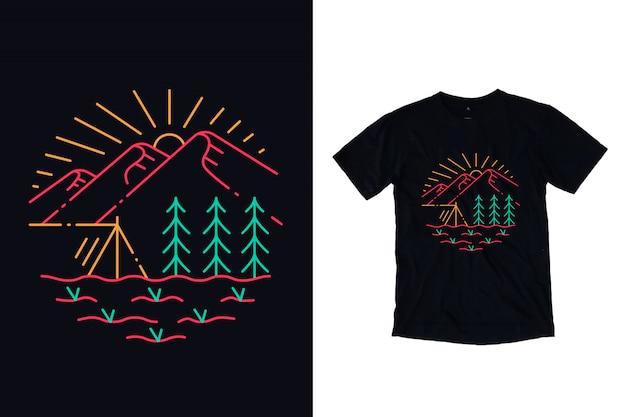 Acampamento na ilustração de montanha para design de camiseta