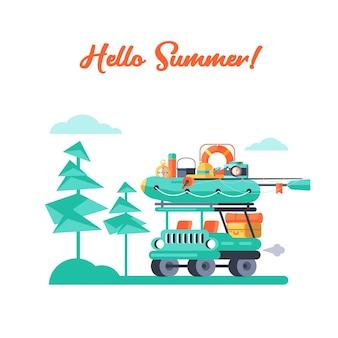 Acampamento. recreação ao ar livre de verão. ilustração vetorial.