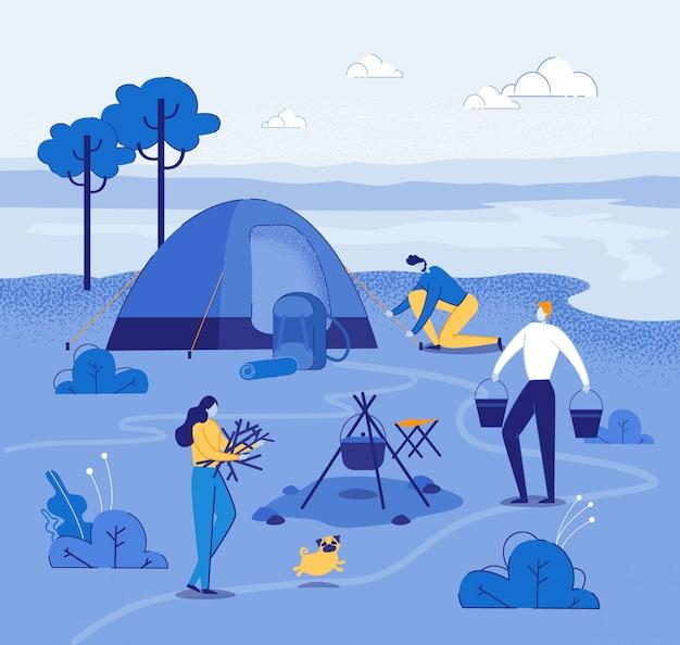 Acampamento turístico perto do rio com barraca para descansar