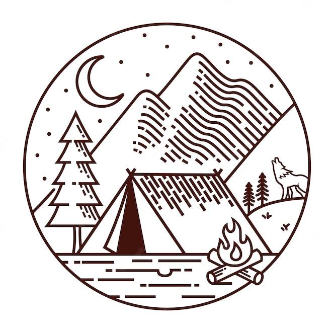 Acampar à noite ilustração de linha
