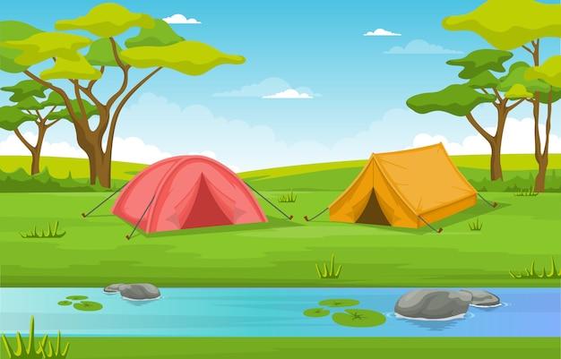 Acampar aventura parque exterior rio natureza paisagem ilustração dos desenhos animados