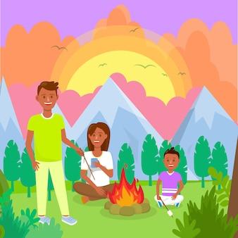 Acampar com a família no desenho liso das montanhas.