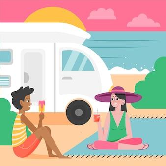 Acampar com uma caravana