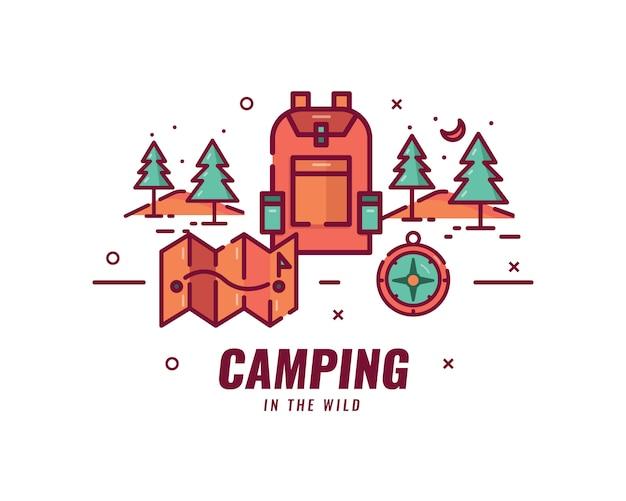Acampar e fazer caminhadas. objetos e cenários para acampar e sair