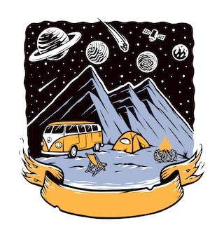 Acampar é minha ilustração de aventura