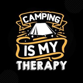 Acampar é minha terapia premium camping tipografia vector design