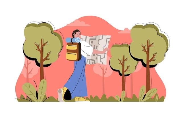 Acampar em ilustração de conceito de web de floresta com personagem de pessoas planas