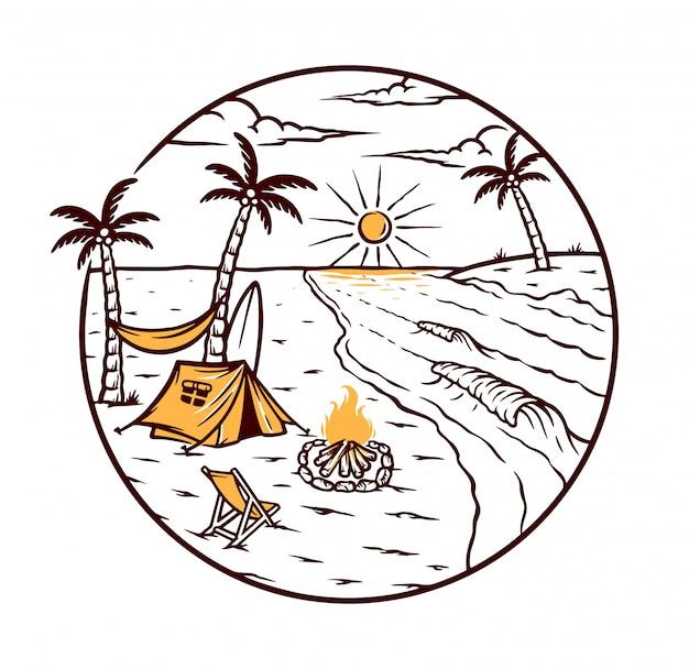 Acampar em uma bela praia