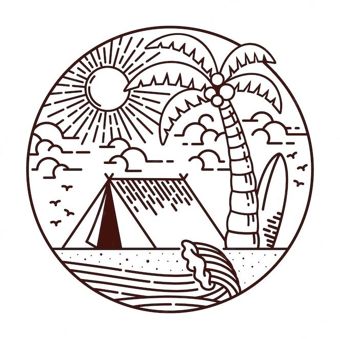 Acampar na ilustração da linha de praia