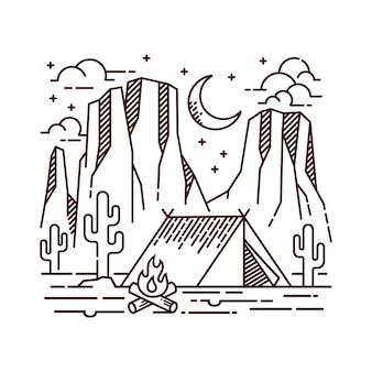 Acampar na ilustração de linha do deserto