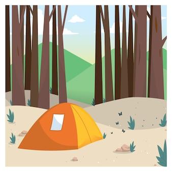 Acampar na ilustração vetorial de floresta