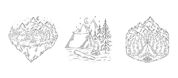 Acampar na natureza linha arte design ilustração