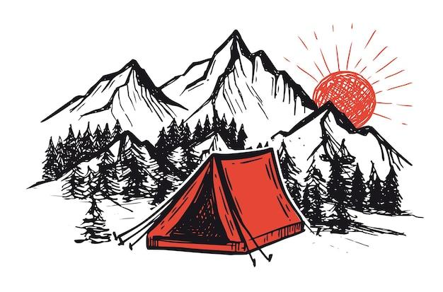 Acampar na natureza paisagem de montanha desenhada à mão