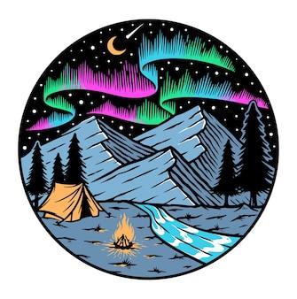Acampar nas montanhas e emblema de auroras