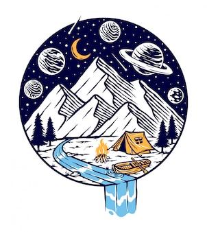 Acampar nas montanhas na ilustração à noite