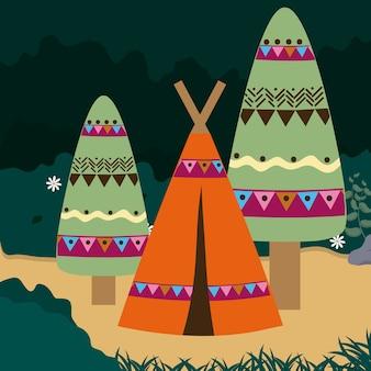 Acampar no desenho animado da floresta