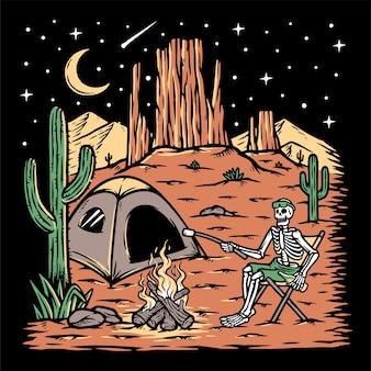 Acampar no deserto à noite