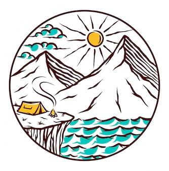 Acampar no final da ilustração da ilha