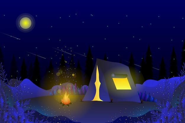 Acampar no fundo do céu azul da noite de verão