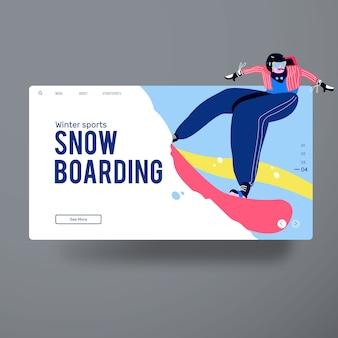 Ação de embarque na neve do homem