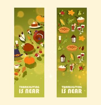 Ação de graças está perto do conjunto de banner com torta de peru e torta de frutas tradicional, colheita de abóbora ou milho e cogumelo