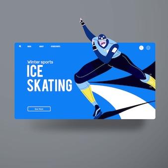 Ação de patinação no gelo de homem