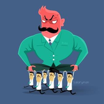 Ação do chefe irritado para o assalariado no horário comercial
